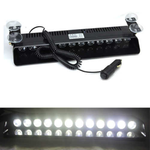 White 12 LED Car Truck Emergency Dashboard Warning Strobe Lights Flash