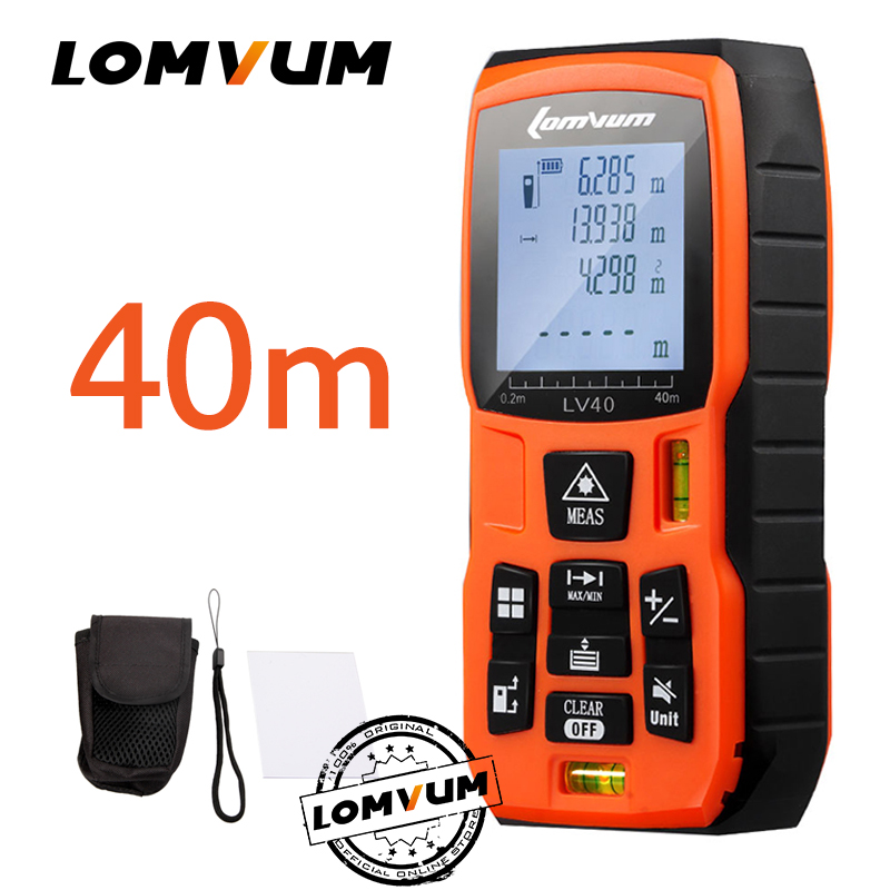 LOMVUM 40 m Trena Ruban À Mesurer Medidor Règle Laser Télémètres Numérique Mètre de Distance Mesureur Range Finder Lazer Metreler
