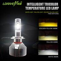 LDRIVE 2PCS 3000K 4300K 6000K 3 Emitting Colors White Yellow Warm Yellow Led Headlight Bulb Fog