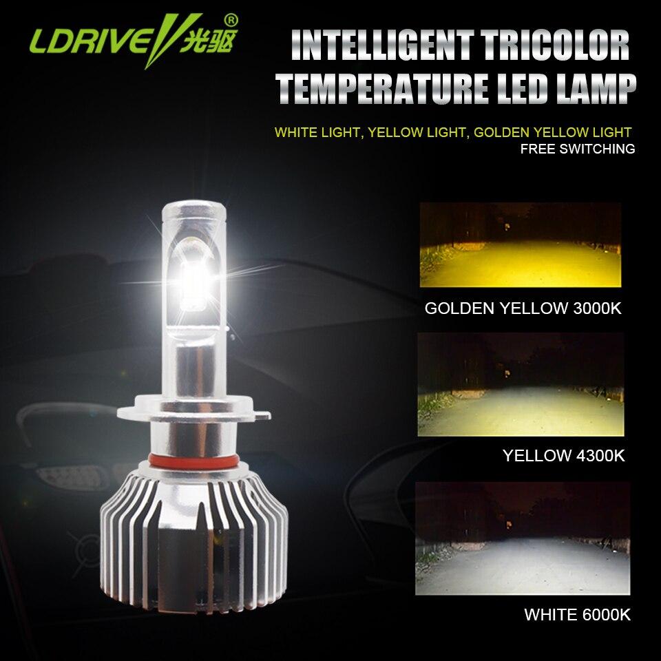 LDRIVE 2PCS 3000K 4300K 6000K 3 Emitting Colors White/Yellow/Warm Yellow Led Headlight Bulb Fog Light H7 H11 9005 9006 48W