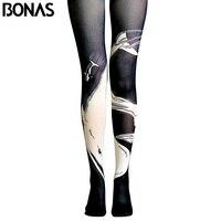 BONAS Whale Print Pantyhose Women Print Tights Female High Waist Cotton Legins Meias Gothic Black Pantyhose
