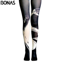 BONAS Whale Print Pantyhose Women Print Tights Female High Waist Cotton Legins Meias Gothic Black Pantyhose