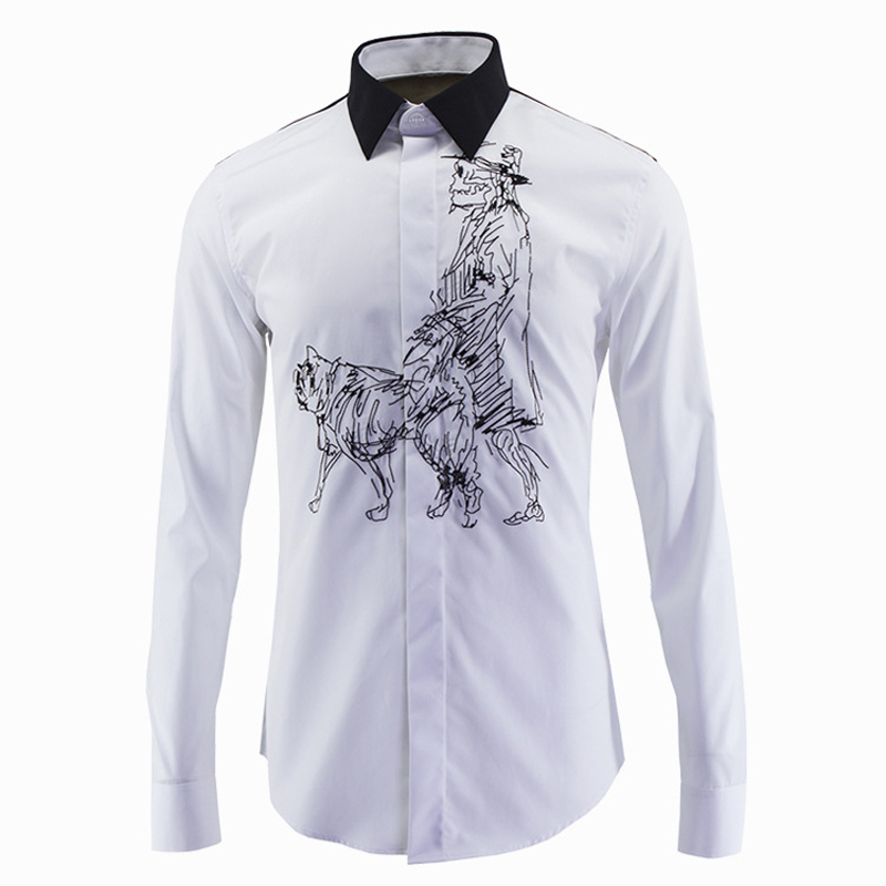 Luxury men shirt skull dog embroidery mens dress shirts for Expensive mens dress shirts brands