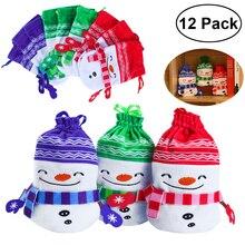 PBPBOX 12pcs Christmas Plush Drawstring Candy Bag Gift Pouch Christmas