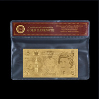 24k Gold Banknote New England Gold Foil Paper Money 5 Pound Currency Bills with PVC Frame for Holiday Gifts