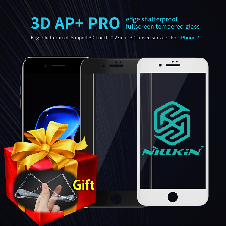 Цена за Nillkin AP + Pro 0.23 мм 9 H 3D Полное Покрытие Из Закаленного Стекла Для iPhone 7/7 Плюс Протектор Экрана для iPhone 7 Plus Стекла Подарок Случаях ТПУ