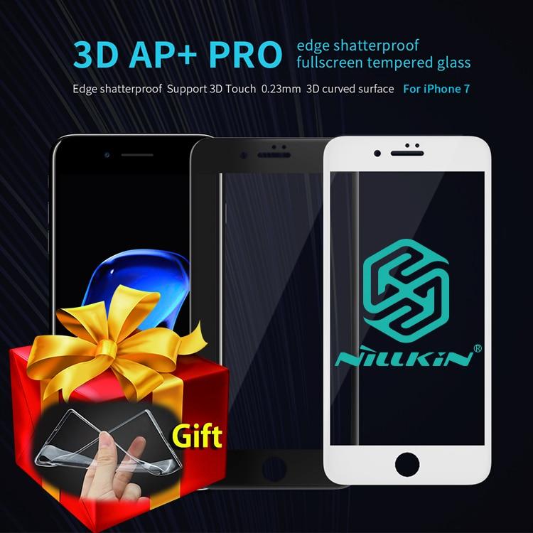 imágenes para Nillkin ap + pro 0.23mm 9 h vidrio templado de la cubierta completa 3d para el iphone 7/7 plus protector de pantalla para iphone 7 plus regalo de cristal casos de tpu