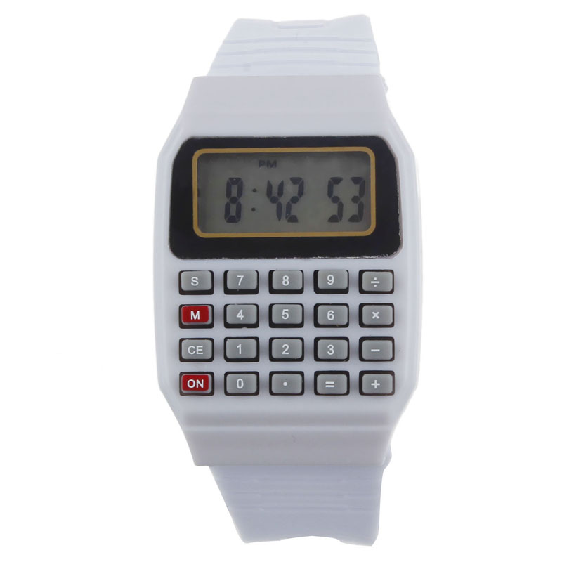 Clok Silicone Multi-Purpose Date Time Electronic Wrist Calculator Watch Children's Watches For Watch Baby Kid's Wristwatches  герметик силиконовый bostik multi purpose silicone a 0 28л белый