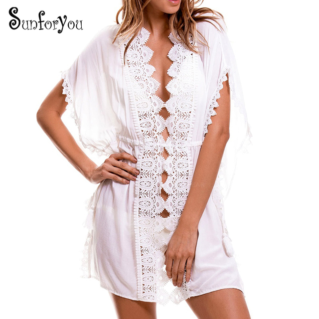 8056d62192 New Lace Beach Cover up Kaftans Sarong Bathing Suit Cover ups Beach Pareos  Tassel Swimsuit Cover up Womens Swim Wear Beach Tunic