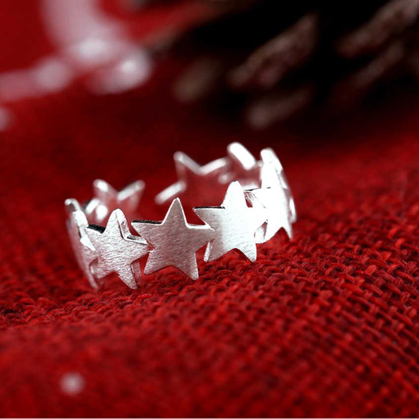 Kinitial Мода звезда Trail Stackable палец кольцо для женщин Свадебные Регулируемые кольца Бижутерия 925 Серебро Вечерние ювелирные изделия