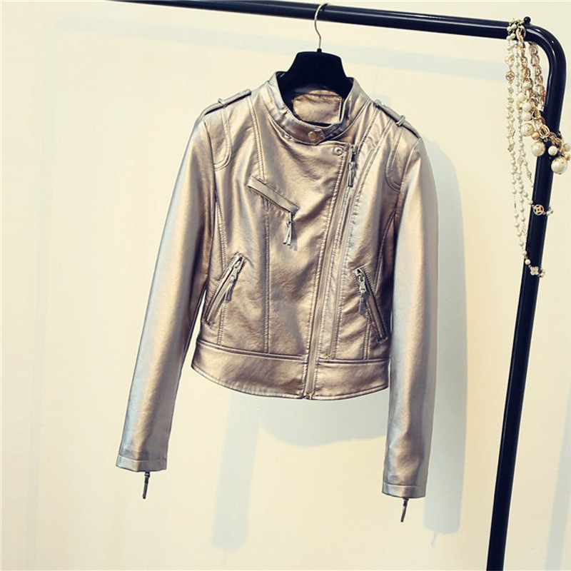 2019 New Design Spring Autumn PU   Leather   Jacket Faux Soft   Leather   Coat Slim Black Rivet Zipper Motorcycle Pink Silver Jackets