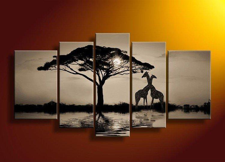 Hand painted 5 pieces Black and White Africa Landscape Trees giraffes Modern Abstract art painting for Home Living Room Decor