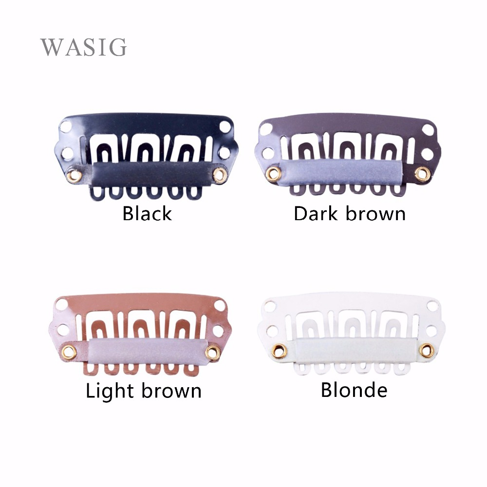50pcs 28mm U Shaped Snap Clips For Hair Extensions Metal Clip With Silicone Back Wig Clips For Clip In Weave Wig Accessories
