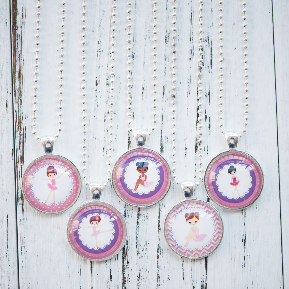 Glass Cabochon Necklace Adorable Ballerina Girl Photo Pendant Necklace Handmade Women Jewelry Cute Birthday Party Gifts for Kids
