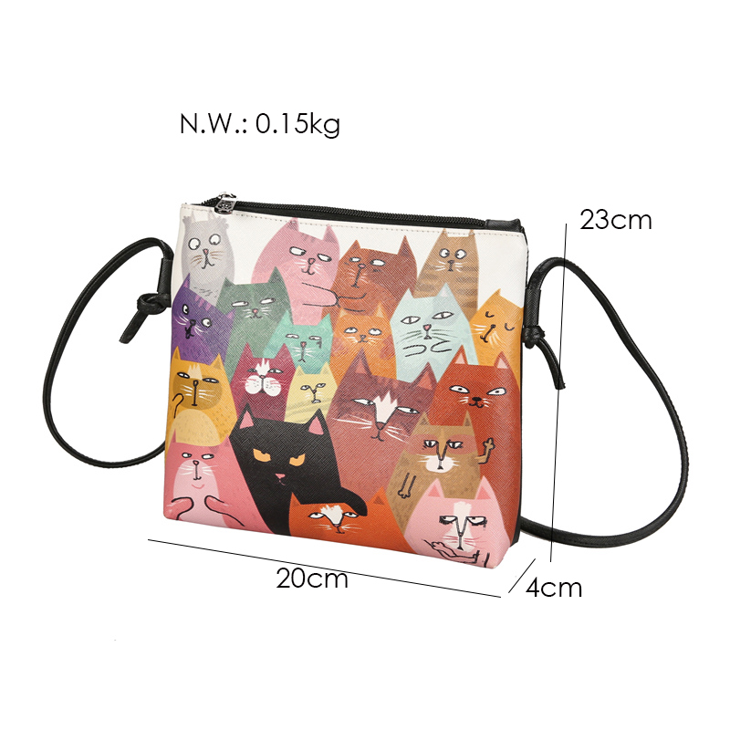 Menghuo 2017 Women Envelope Shoulder Clutch Bag Quality PU Cartoon Cat Printing Small Female Message Purse for Teenagers Girls (38)