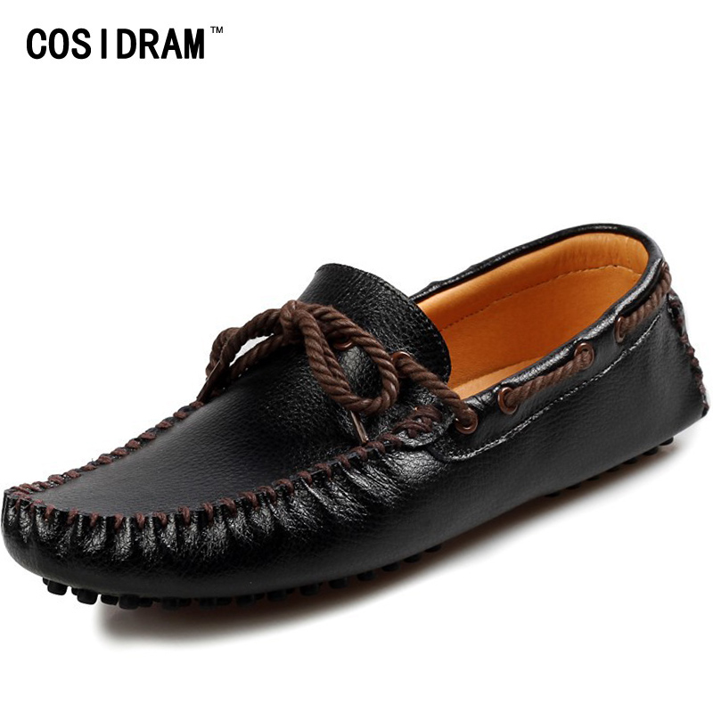 COSIDRAM Soft Genuine Leather Men Loafers 2017 Spring Leisure Driving Shoes Men Casual Shoes Moccasins Male Footwear RMC-365 men casual shoes genuine leather fashion moccasins men flats loafers soft bottom leisure driving shoes male footwear rmc 411