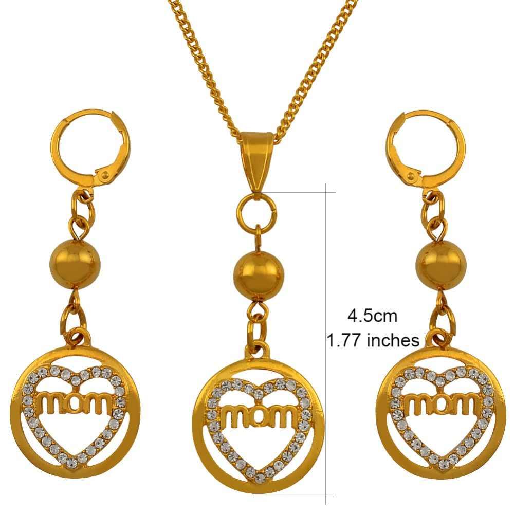 Anniyo Ibu Terbaik Hadiah Kalung Anting-Anting Set Perhiasan dengan Manik-manik dan Perhiasan Berlian Imitasi Bola Perhiasan Ulang Tahun Ibu Hadiah #124506