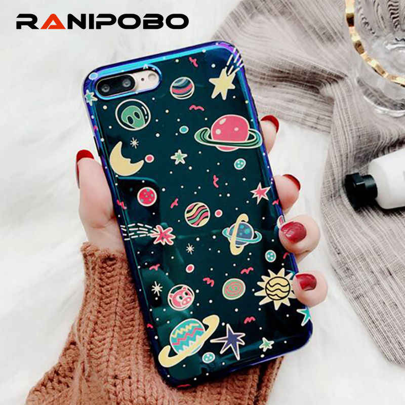 Blu-Ray Leuke Planet Moon Star Telefoon Case Voor iphone 6 6 s 7 8 Plus Mode Universe Series Cover Cases voor iphone X XS Case