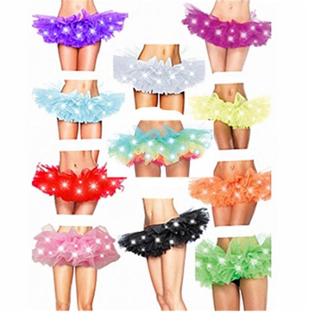 Moda Encantadora Del Tutú Del Arco Iris LED Luces Moda Colorida Falda Del Tutú Traje de Malla De Ballet de Danza de La Falda De Las Mujeres Mini Falda