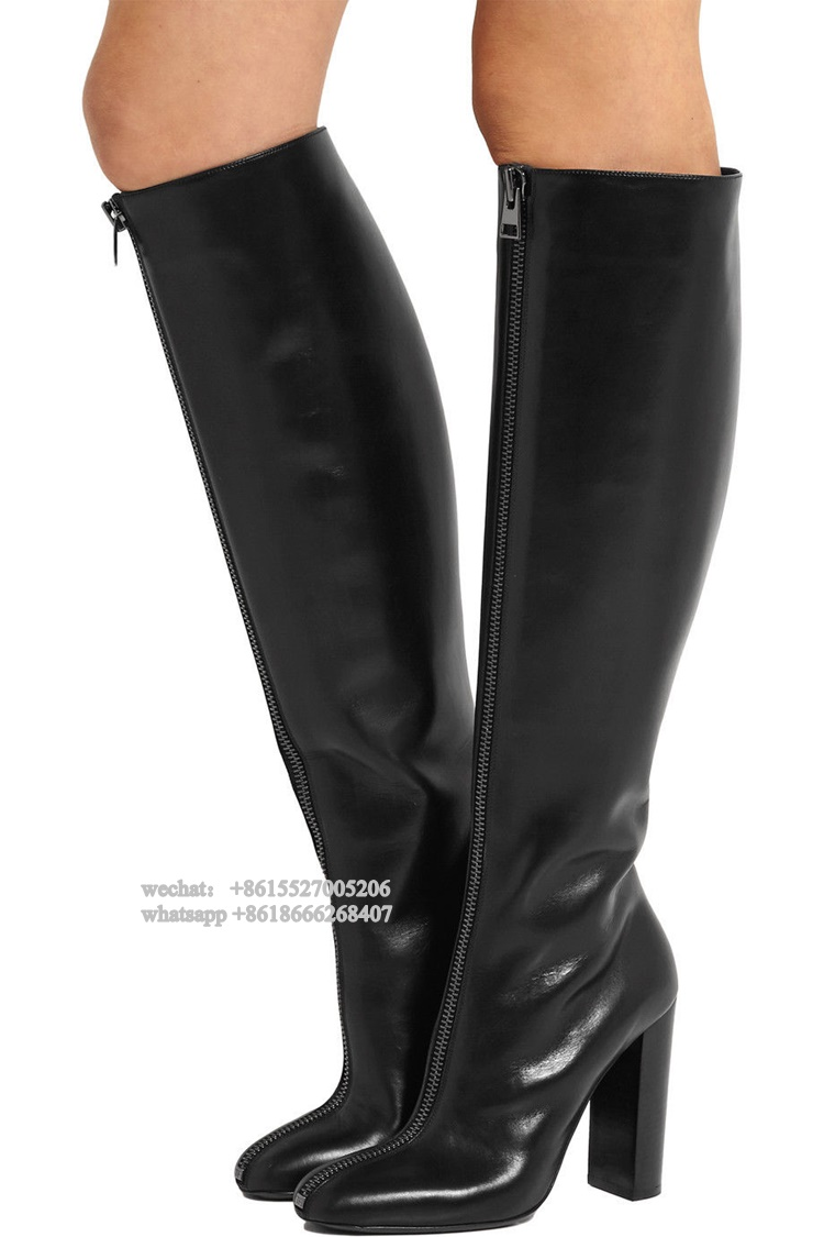 Fashion Front Zipper Black Real Leather Round Toe Block Heeled High Heel Women Boots Winter Long Knee Boots Plus size 43 plus size oblique zipper color block hoodie