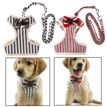 Adjustable Chest Vest Dog Harness with Collars Bowtie Suit