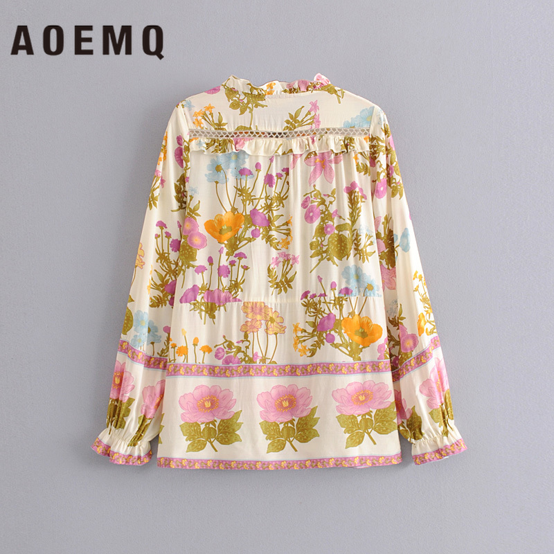 AOEMQ Fashion Long Shirts Folk Vintage Floral Blouse Women Tops Natural Flower Country Style Blouse&Shirts for Women Clothing(China)