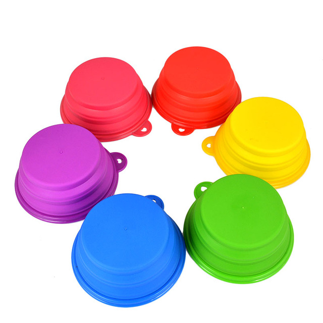 Silicone Dog Pet Collapsible Travel Water Food Bowl Folding Dish Feeder