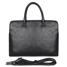 Genuine Leather Business Bag Black Laptop Lawyer Briefcase Men Handbag 7406A