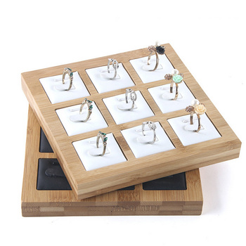 Hot selling fashion Bamboo 9 Grids Rings Jewelry Display Tray Pendants Props Simple Packaging sales