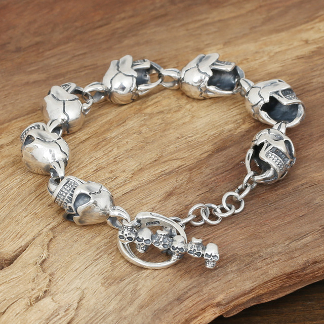 Factory wholesale silver jewelry S925 Mens Handmade Silver Silver Large Skull Bracelet