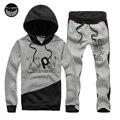 Sudaderas con capucha de Los Hombres de la Marca Sudaderas Hombre 2017 Mens Hoodie Sudadera Letras Impresas Traje Con Capucha XXXL Coat + Pants