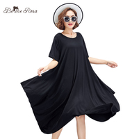 BelineRosa 2018 Women's Plus Size Dresses Casual Style Soft Cotton Simple Black Color Irregular Dresses Female L ~ 5XL TYW00770