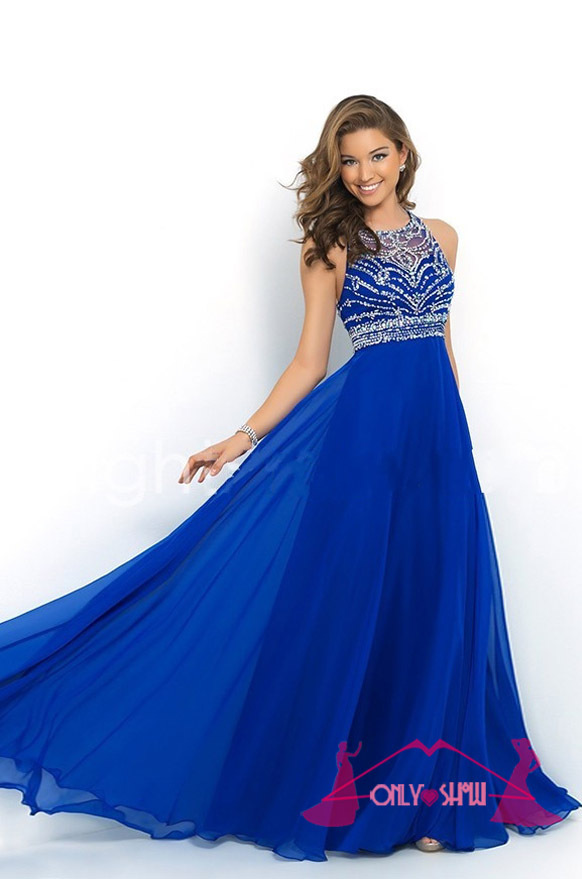 Aliexpress.com : Buy Gorgeous Long Royal Blue Crystal Beading Prom ...