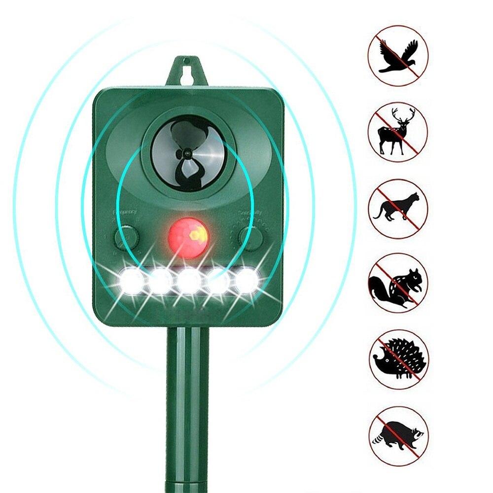 Rechargeable Solar Powered Ultrasonic Pest Animal Reject Outdoor Garden PIR Motion Sensor Pest Control Animal Pest Repellent