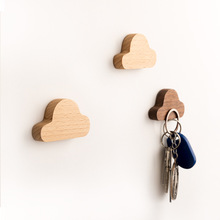 купить Nordic wood cloud key hook creative magnet stick hook wall hanging door solid wood note storage wall porch strong Magnetic hook дешево