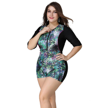 Plus Size Swimwear Women Large Half Sleeves Swimsuit Zipper Front Female One Piece Suits XL XXL 3XL 4XL 5XL