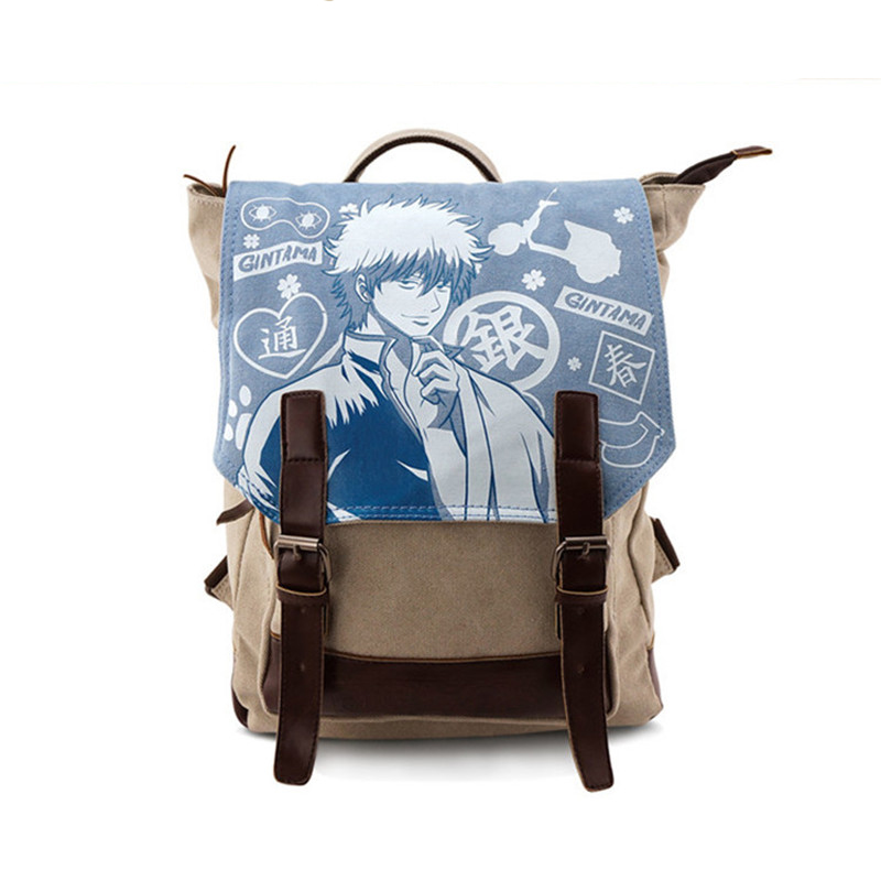 New Fashion Gintama Canvas Satchel Silver Soul Anime Cosplay Backpack Rucksack Shoulder School Bags for Teenagers 2017 new death note backpack school bags canvas unisex cosplay satchel rucksack work leisure bag shoulder bags