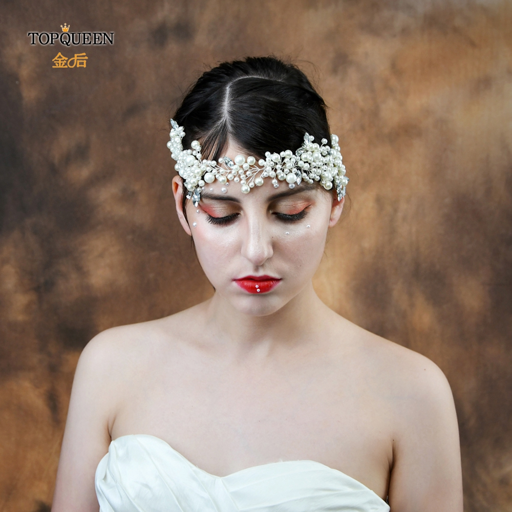 TOPQUEEN HP186 Elegant tiara romantic Bride Hair Jewelry Handmade sliver Pearls Bridal Tiara rhinestone Wedding Hair Accessories