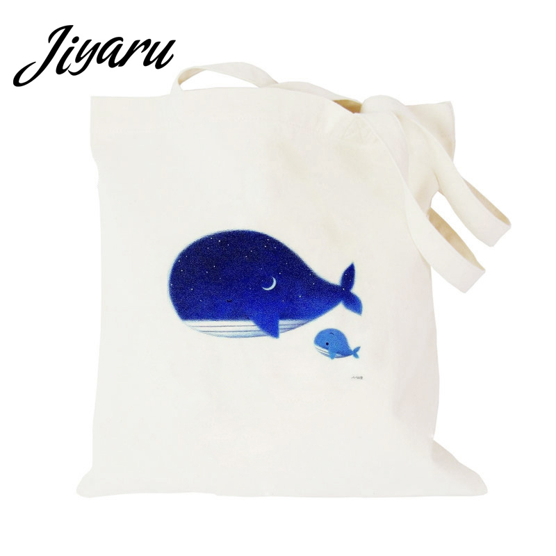 Foldable Shopping Bags Women Men Handbags Canvas Tote Bags Grocery Reusable Shopping Bag Kawaii Printed Shoulder Bag