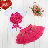 New Summer Baby Girls Clothes Cartoon Flower Printed Kids Cloth Korean Version Infant Bebe Dress 2PCS