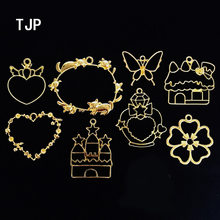 5pcs/lot Girl loving heart castle butterfly Metal Frame Pendant Gold Charm Bezel Setting Cabochon Setting UV Resin Charm(China)