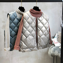 2018 Winter Autumn Women Cotton Liner Vests Gray Fashion Solid O Neck Warm Down Coats Sleeveless Femme Loose Argyle Vest