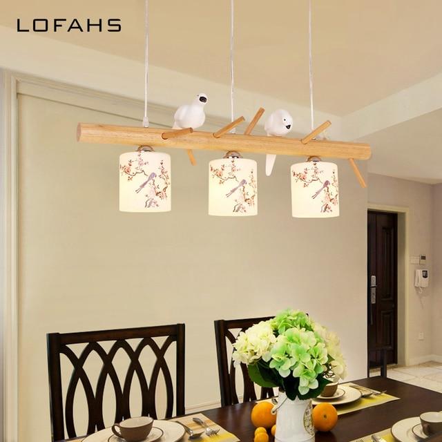 Modern Bird Pendant Chandelier Lighting Droplight Indoor Art Deco Wooden Lamp Bedroom Dining Room Cafe Restaurant