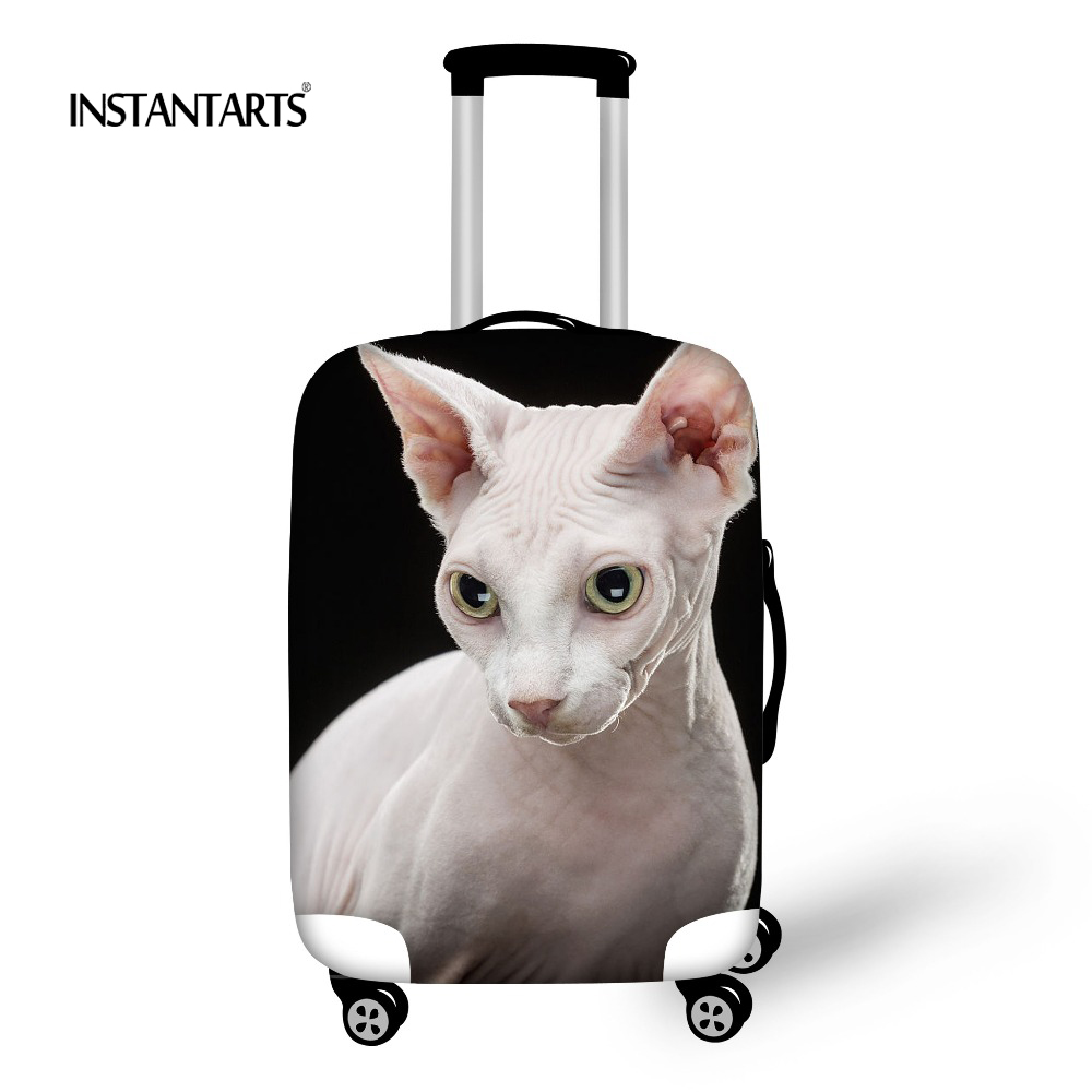 INSTANTARTS Funny Sphinx Canadian Hairless Cat Luggage Waterproof Covers Apply to 18-30 Inch Trolley Suitcase Travel Accessories image