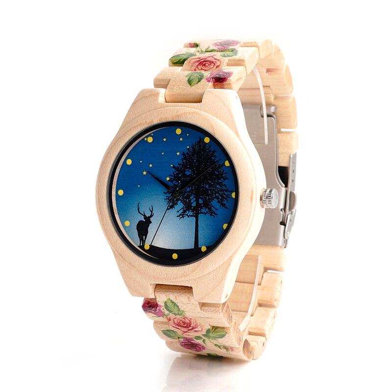 ФОТО BOBO BIRD L27 Cool Pine Wood Watch UV Printing Flower Wooden Band Mens Women's Quartz Japanese Miyota 2035 Movement Watches