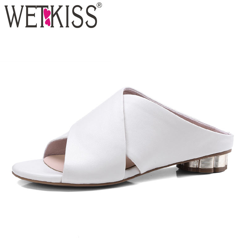 WETKISS 2018 Summer Thick Heels Women Slippers Peep Toe Slides Pu Strange Style Footwear New Fashion Casual Ladies Mules Shoes