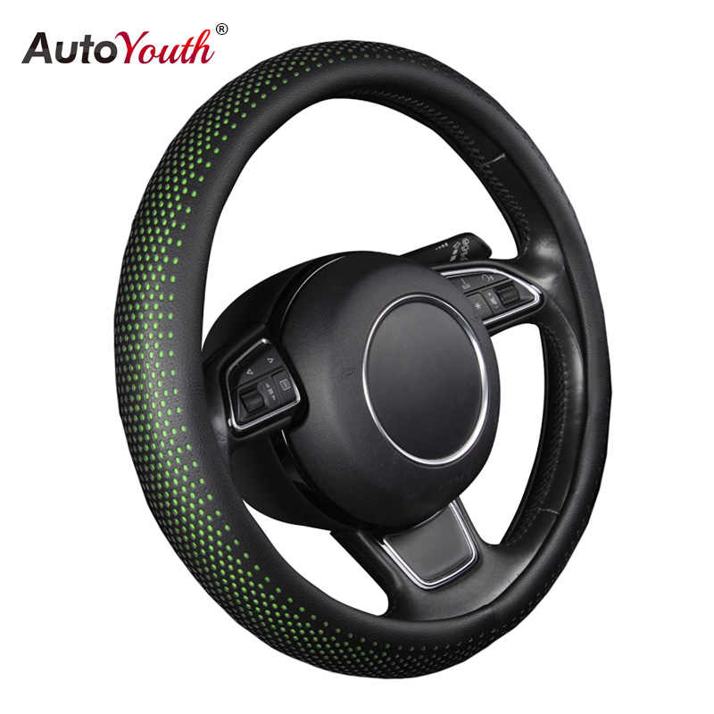 PU Leather Auto Steering Wheel Cover Hot Wheels AUTOYOUTH Green Color Fits  37-38 cm Car Styling For ford mondeo mk4 lada vesta