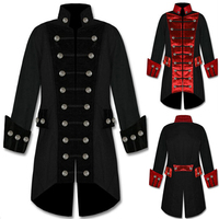 Cosplay Medieval Mens Retro Punk Jacket Costume Victorian Renaissance Gothic Pirates Steampunk Coat Costume Male Retro Clothing