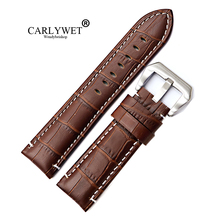 CARLYWET 22 24mm Wholesale Black Brown Real Leather Handmade Thick Replacement Wrist Watch Band Strap Belt With Screw Buckle цены