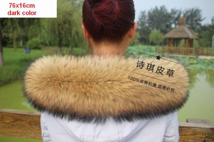 Vinter Äkta Real Natural Raccoon Fur Collar & Women Scarfs Fashion - Kläder tillbehör - Foto 2